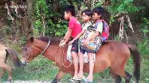 Students at remote village in the Philippines forced to ride horses to school every day [Video]