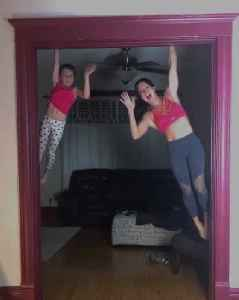 Mom and Daughter Do Synchronized Pull Ups on Doorway [Video]