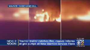 Truck Bursts Into Flames At Pa. Turnpike New Stanton Service Plaza [Video]
