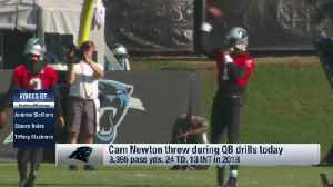First look: Carolina Panthers quarterback Cam Newton unveils new throwing motion at Panthers minicamp [Video]