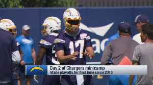Los Angeles Chargers quarterback Philip Rivers unveils new helmet style at Chargers minicamp [Video]