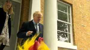 Reporters shout questions on drug use as Boris leaves home [Video]