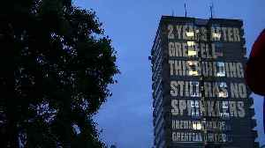 Grenfell survivors project messages on 'unsafe' buildings [Video]