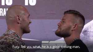 News video: Tyson Fury in unusually friendly face-off with Tom Schwarz ahead of Las Vegas fight