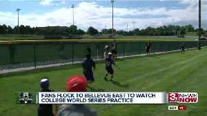 Fans flock to Bellevue East to watch College World Series practices [Video]