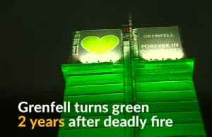 Grenfell Tower turns green to commemorate victims of fire [Video]