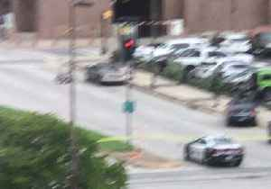 News video: Bomb Disposal Robot Approaches Vehicle Amid Shooting Incident in Dallas