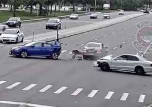 Driver Plows Into Two Vehicles After Running Red Light in Florida [Video]