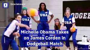 Michelle Obama Takes on James Corden in Dodgeball Match [Video]