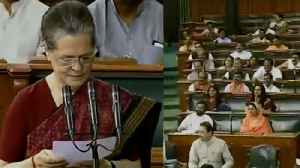 News video: Sonia Gandhi takes oath as Lok Sabha member, BJP MP's chants | Oneindia News