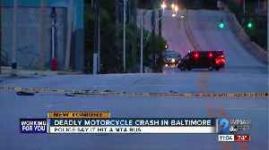 One dead following crash between motorcycle and MTA bus [Video]