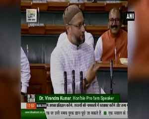 News video: Vande Mataram,' 'Bharat Mata Ki Jai' slogans greet Owaisi as he takes oath in Parliament