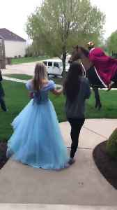 Prince Charming Promposes to High School Girlfriend with Princesses [Video]