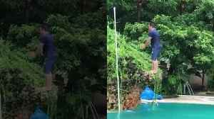 Watch Salman Khan do a back flip into a swimming pool [Video]