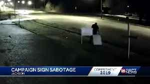 Candidate claims man caught on camera stealing sign [Video]