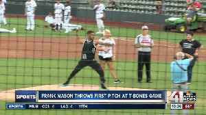 Frank Mason throws first pitch at T-Bones game [Video]