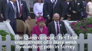 The Queen dazzles in pink at the Royal Windsor Cup Final [Video]