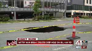 Broken water, sewer lines collapse part of Gillham Road [Video]
