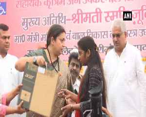Smriti Irani distributes laptops to 240 Lekhpals in Amethi [Video]