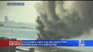 Boat Fire Near Hull Forces 4 People Into The Water [Video]