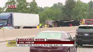 Fatal crash involving semis closes M-14 in Ann Arbor, diesel fuel leaks into Huron River [Video]