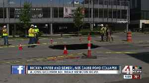 Broken water, sewer lines cause road collapse [Video]