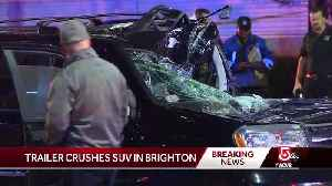 SUV crushed by trailer in Brighton [Video]