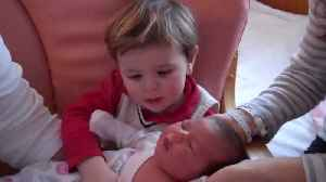 Toddler has Cutest Reaction when he Meets his New Baby Sister [Video]