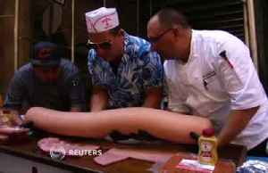 66 pound hot dog makes a tasty attempt at world record [Video]