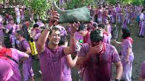 Thousands gather for massive wine fight in Northern Spain [Video]
