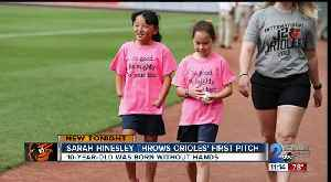 Sarah Hinesley throws Orioles first pitch [Video]