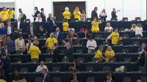 Lib Dems and Brexit Party in contrasting protests at European Parliament opening [Video]