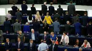 Brexit Party MEPs turn their backs as EU anthem is played [Video]