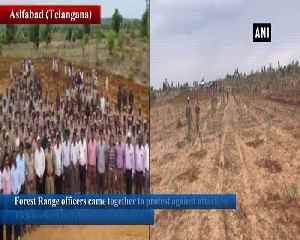 Forest Range officers plant saplings to protest against TRS attack in Telangana [Video]