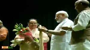 PM Modi, Amit Shah felicitate BJP Working chief JP Nadda at party meet [Video]