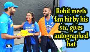 IANS at World Cup | Rohit meets fan hit by his six, gives autographed hat [Video]