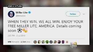 News video: Free Beer! MillerCoors Pledges To Give Away 100,000 Free Miller Lites After US Beats England In World Cup Semifinals