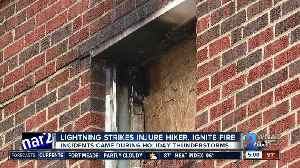 Lightning strikes injure man, ignite fire [Video]