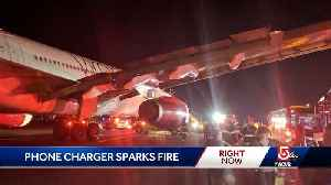 Battery blamed for fire aboard plane [Video]