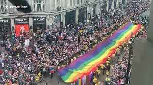 London Pride 2019 gets underway with huge rainbow flag [Video]
