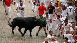 News video: Panic on first day of Spanish festival as bulls gore three people