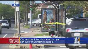 2 Injured After Car Hits Bus Stop In Lynn [Video]