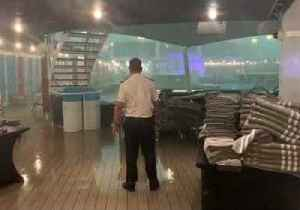 Passengers Shelter as Venice Storm Lashes Deck of Their Cruise Ship [Video]
