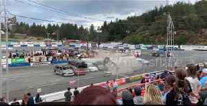 Car stunt man crashes into a high stack of cars [Video]
