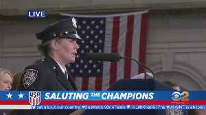 USWNT Parade: NYPD Sings National Anthem [Video]