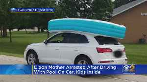 Mom Charged After Driving With Kids Inside Inflatable Pool On Roof [Video]