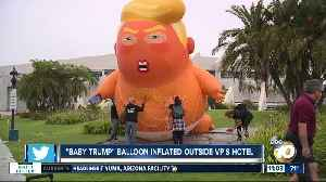 'Baby Trump' balloon inflated outside VP's hotel [Video]