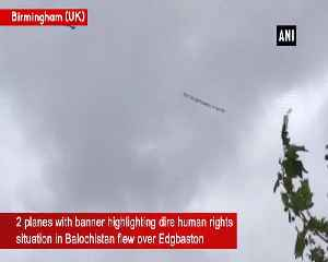 Planes with Balochistan political messages fly above stadium during CWC semi finals [Video]
