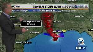 UPDATE: Tropical Storm Barry heads toward Louisiana with 65 mph winds, expected to be hurricane by landfall [Video]