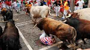 Revellers dice with death in Spain's 'running of the bulls' [Video]